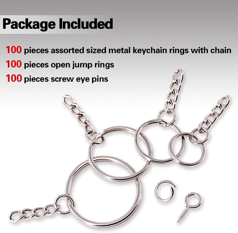 4//5 Inch 6//5 Inch 3//5 Inch 100Pcs Keychain Rings with Chain and 100Pcs Jump Ring with 100Pcs Screw Eye Pins Bulk for Jewelry Findings Making 1 Inch Swpeet 300Pcs Bronze Key Chain Rings Kit
