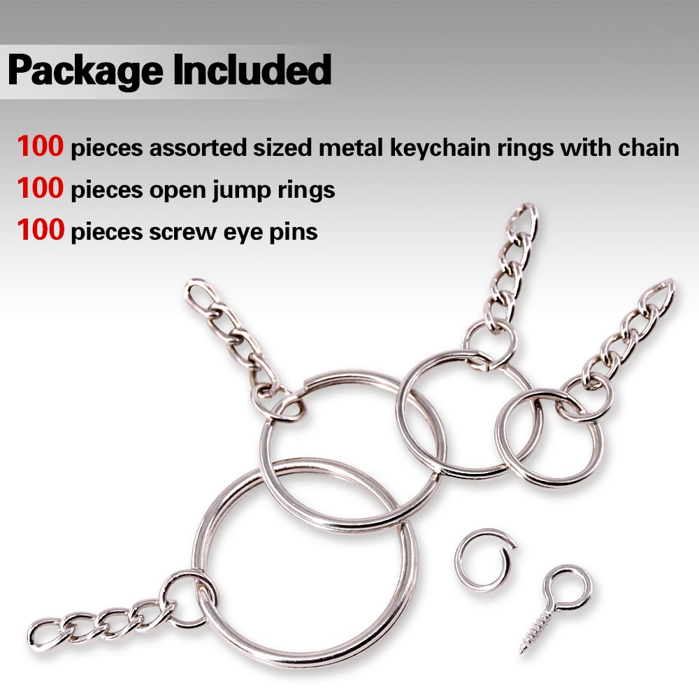 Amazon.com: Swpeet - Anillos para llavero con cadena y 100 ...