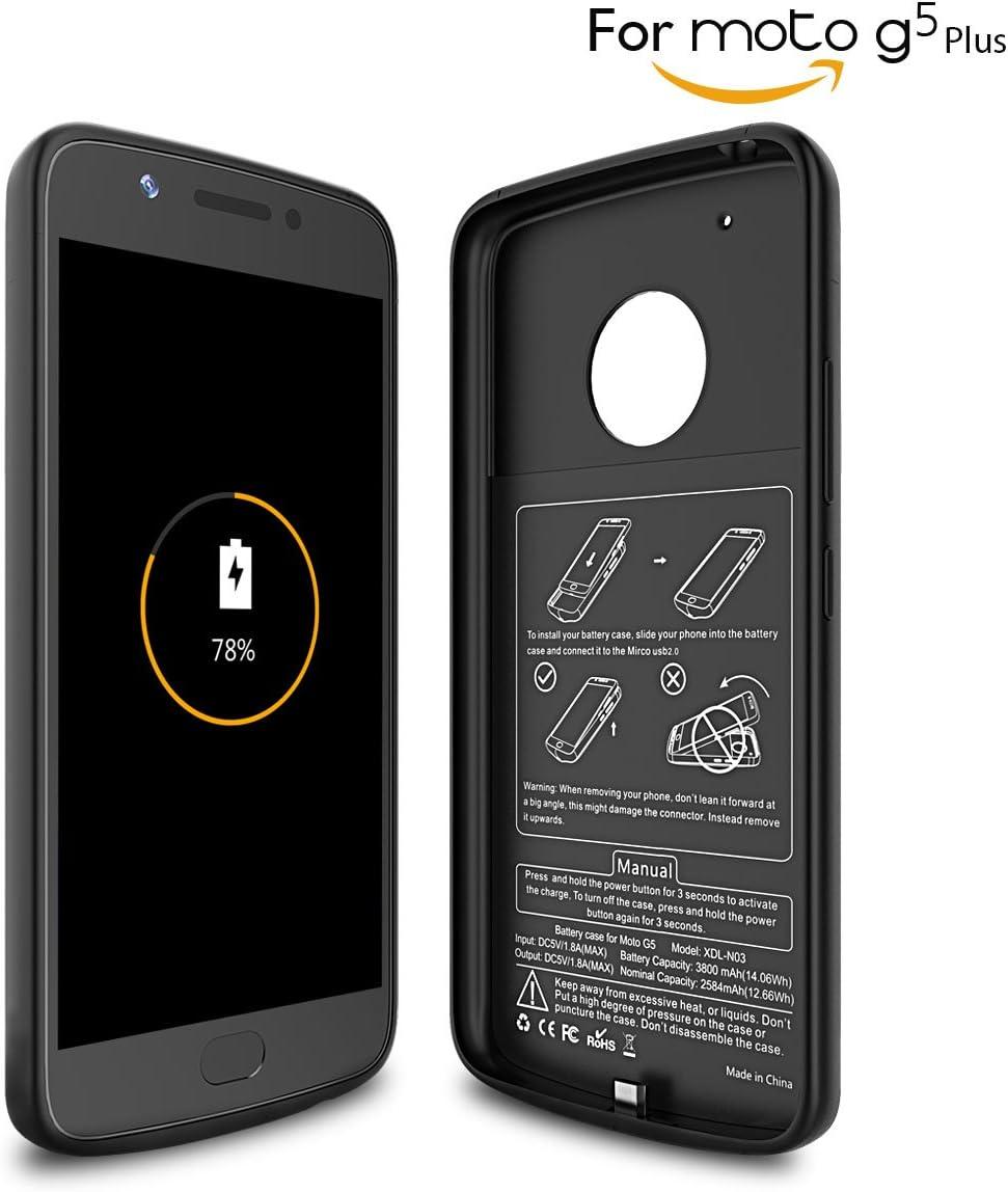 Newdery Funda Bateria Moto G5 plus, 3800mAh Carcasa Bateria, Externa Recargable Protector Cargador Power Bank Case para Moto G5 plus (Negro): Amazon.es: Electrónica