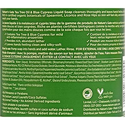 Natures Gate Organics Liquid Soap Tea Tree and Blue Cypress - Soft and Silky Hands - Sulfate Free - 12 fl oz (Pack of 4)