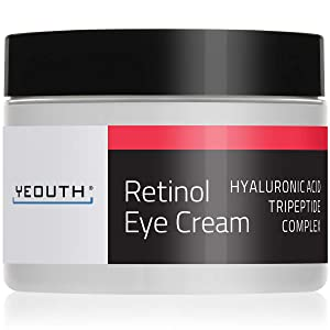 Retinol Eye Cream 2.5% from YEOUTH Boosted w/Retinol, Hyaluronic Acid, Caffeine, Green Tea, Anti Wrinkle, Anti Aging, Firm Skin, Even Skin Tone, Moisturize and Hydrate … (2oz)