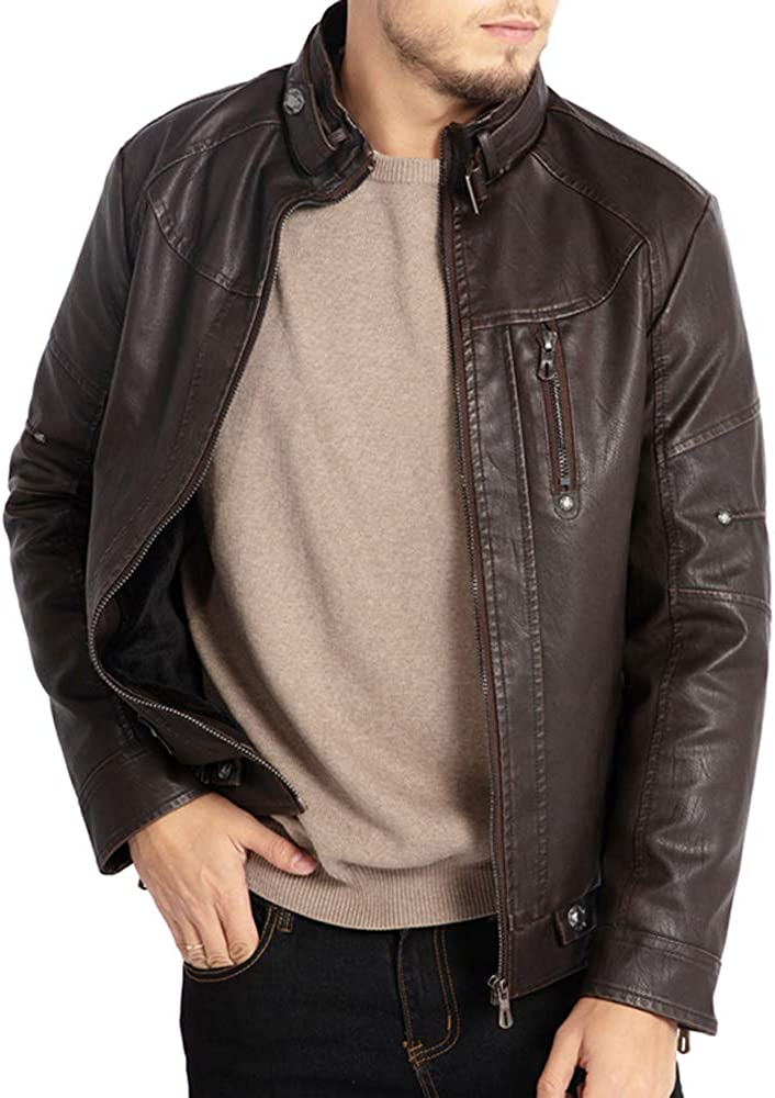 WULFUL Mens Vintage Stand Collar Leather Jacket Motorcycle PU Faux Leather Outwear