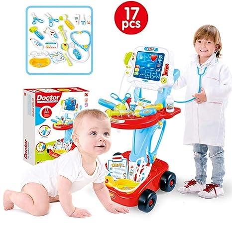 Juegos de médicos Traje Juguete Doctor Carro Médico Botiguín Electrocardiograma Estetoscopio Medico Para Niño Uadro Conjunto
