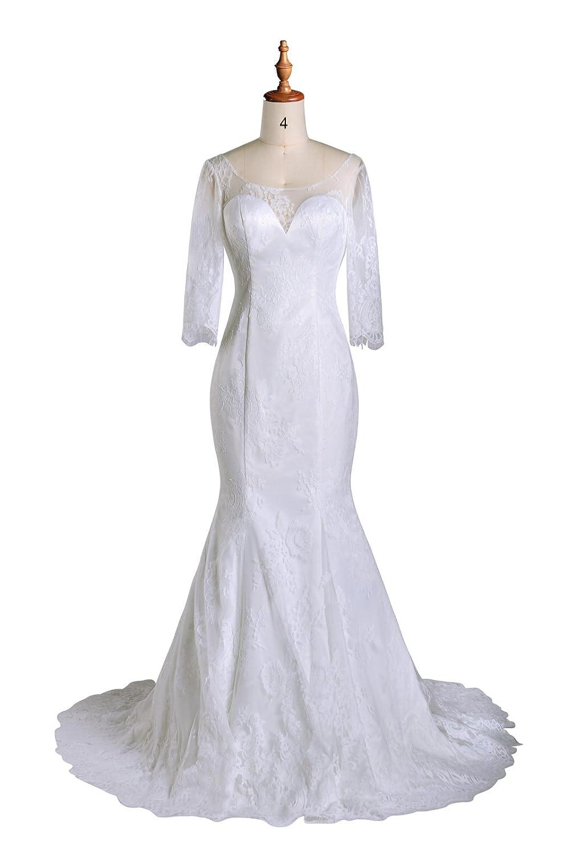 99Gown Wedding Dresses Mermaid Lace Long Sleeve Vintage Princess ...
