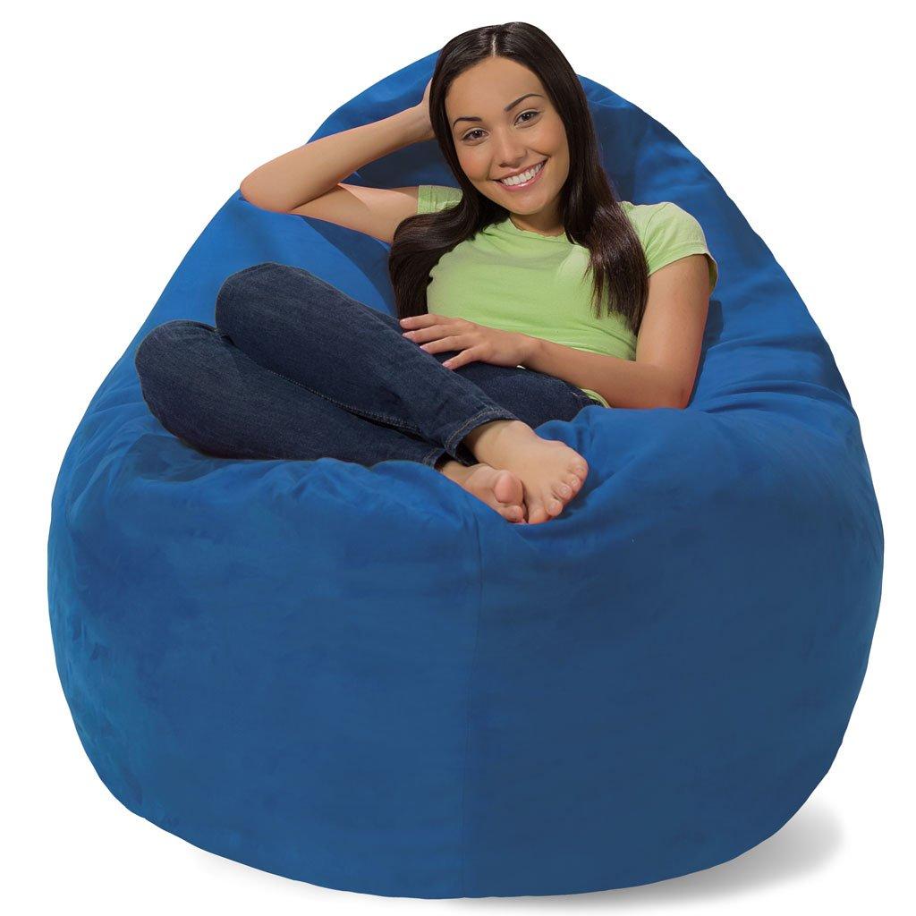 Comfy Sacks Huge Pillow Memory Foam Bean Bag Chair, Royal Blue Micro Suede