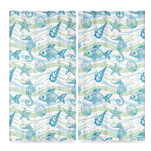 (TecBillion Nautical Bedroom Blackout Curtains,Marine Ocean Shell Starfish Oyster Mollusk Sea Horse Underwater Aquatic Pattern,Living Room Bedroom Décor, 2 Panel Set,79W X 62L)