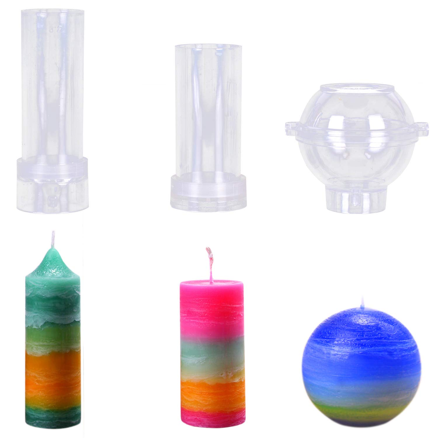 MeiMeiDa Plastic Candle Molds for Candle Making Set of 3 - Including Pillar Mold, Cylinder Mold and Sphere Mold - Make Your Own Candles - Great for DIY Homemade Candles