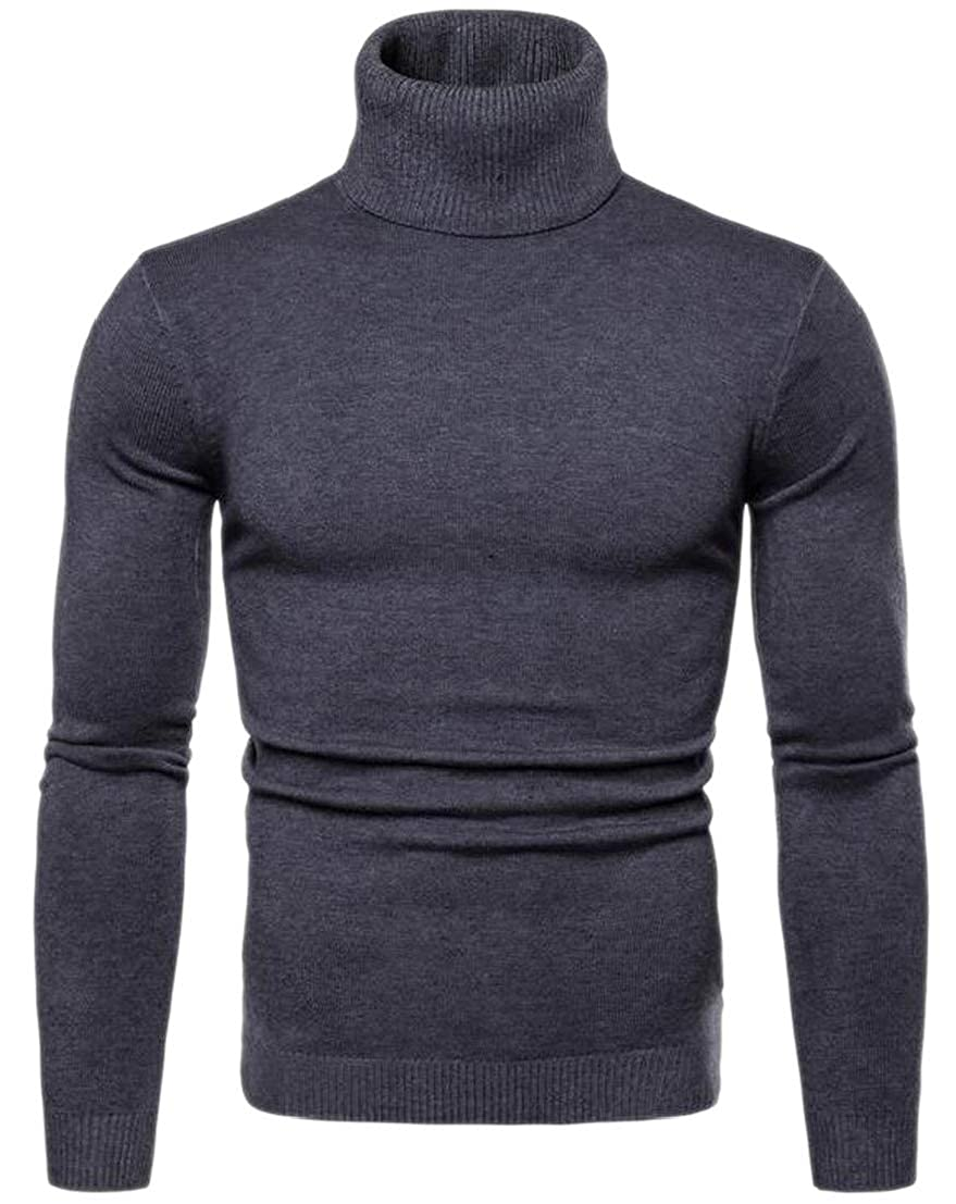 Generic Mens Warm Pullover Turtle Neck Knitted Solid Color Sweater