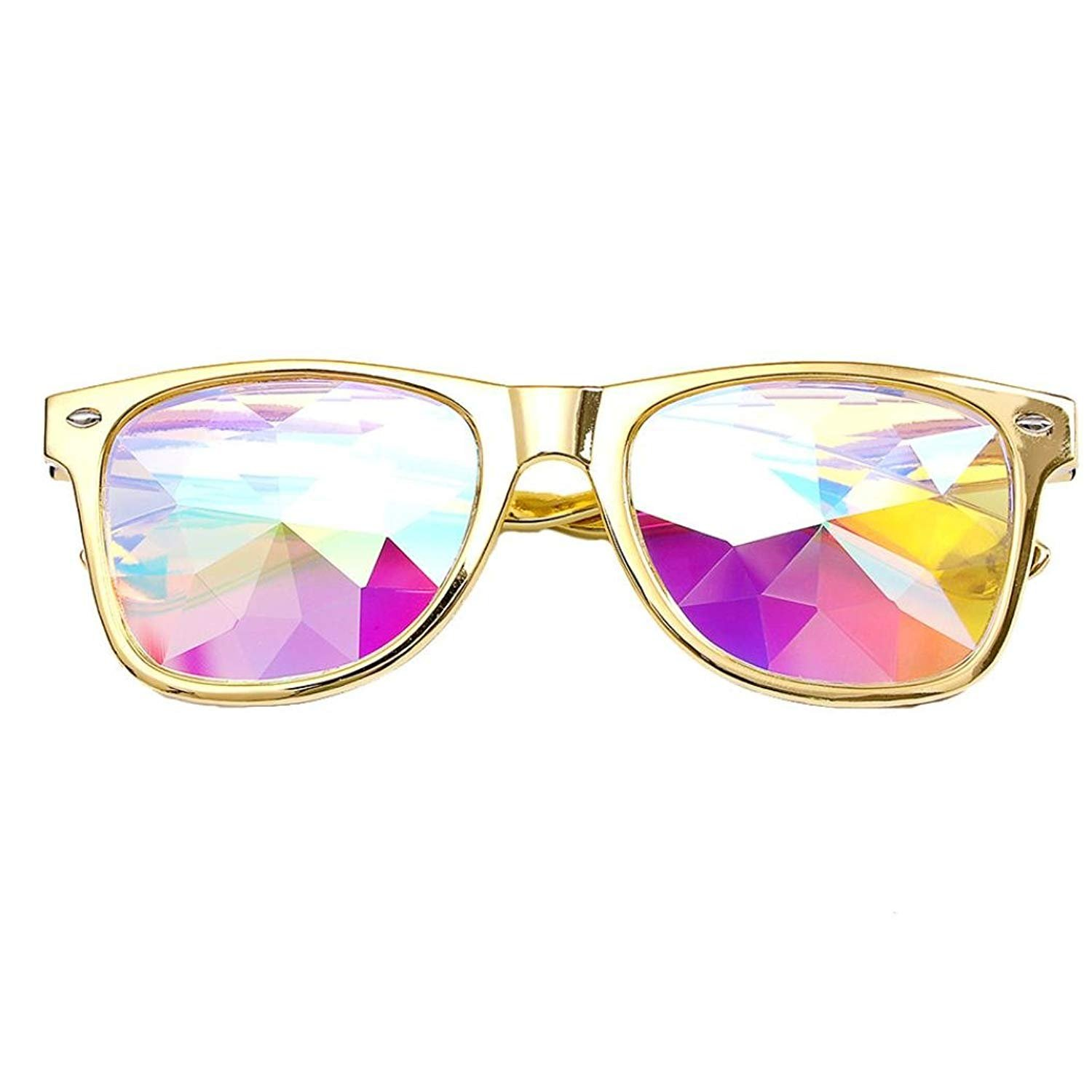 Kaleidoscope Sunglasses,Rave Festival Party EDM Rainbow Crystal Lenses Sunglasses