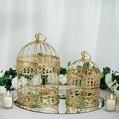"Efavormart 2 Sets of Large Metallic Gold Bird Cage Wedding Centerpiece Table Party Decor All Occasions - 9"",13"" Tall"