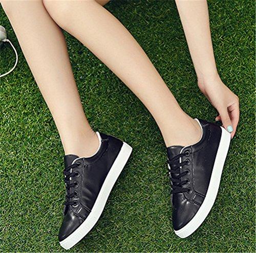 Sneakers Basse Shock Asso Da Donna, Scarpe Da Lavoro Casual Con Lacci Scarpe Bianche Nere Taglia 5.5-8 Nere