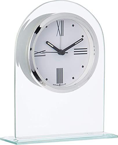 Howard Miller Regent Table Clock 645-579 Modern Glass Arch with Quartz Alarm Movement