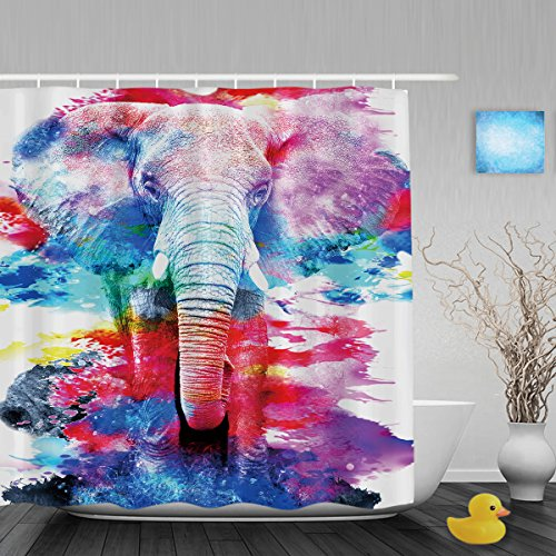 Art Painting African Elephant Bathroom Shower Curtains Fade Resistant Waterproof Mildew Polyester Fabric Rainbow Color 60