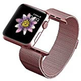 OROBAY Replacement Band 38mm for Apple Watch, Stainless Steel Mesh Loop Magnetic Closure Clasp Apple Watch Wristband Strap for Apple iWatch Sports&Edition (Rose Gold)