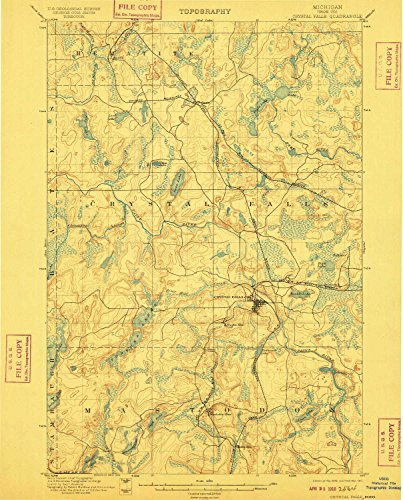 YellowMaps Crystal Falls MI topo map, 1:62500 Scale, 15 X 15 Minute, Historical, 1899, Updated 1910, 19.4 x 15.6 in - Polypropylene ()