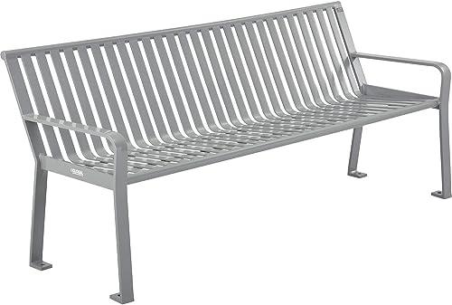 Global Industrial 6 ft. Outdoor Steel Slat Park Bench