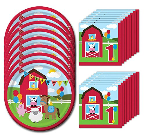 Farmhouse Fun First Birthday Lunch Napkins & Plates Party Kit for 8 1st Birthday Lunch Napkins