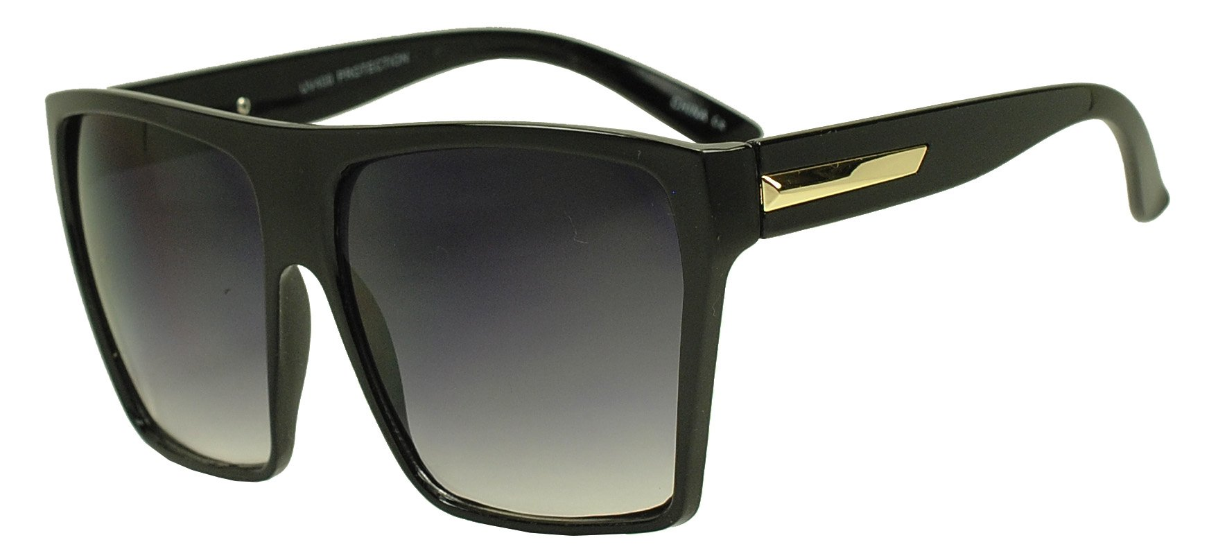 Sunglass Stop - Extra Large Square Retro Flat Top Oversized Aviator Sunglasses (Black | Gold , Black )