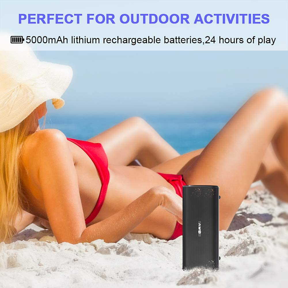 TWS Technology Extra Bass Perfect for Camping Built in Mic 24H Playback AY Portable Wireless Bluetooth 4.2 Speakers 30W with HD Stereo Sound Outdoors Party. Waterproof IPX7