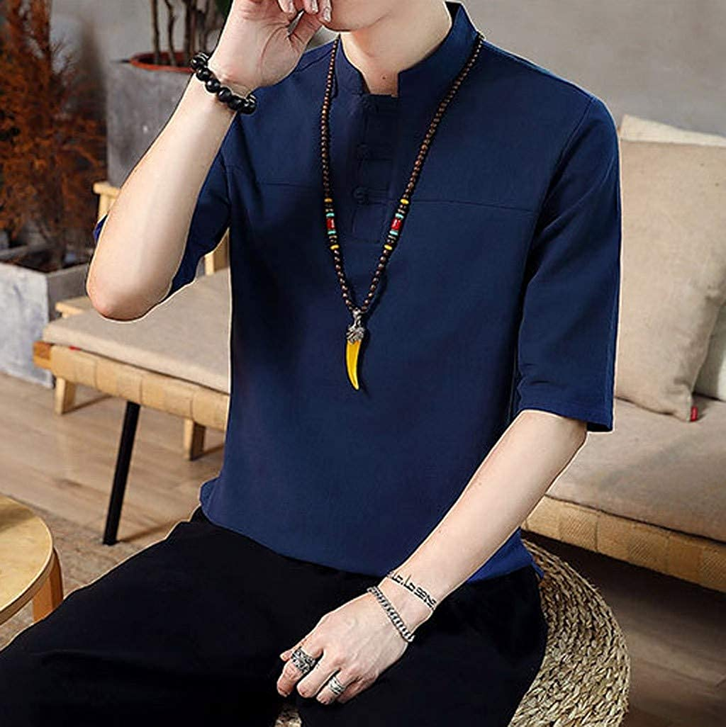 Men Summer T Shirt,Fineser Mens Baggy Cotton Solid Color Half Sleeve T Shirt Retro Loose Casual T Shirts Tops Plus Size