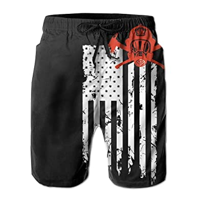 df9073a710 ZQ-SOUTH ZrGo Men's Firefighter Red Line Flag Quick-Dry Summer Beach  Surfing Board Shorts Swim Trunks Cargo Shorts | Amazon.com