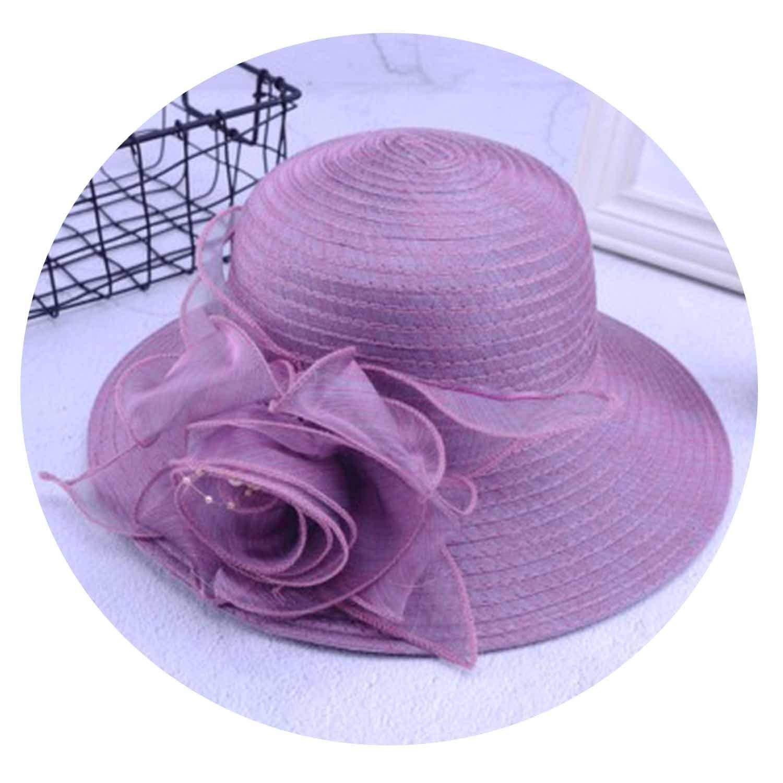 Purple Women Sun Hat Satin Feather Summer Women Wide Brim UV Predection Sun Beach Cap Party Wedding Kentucky Derby Church Hat