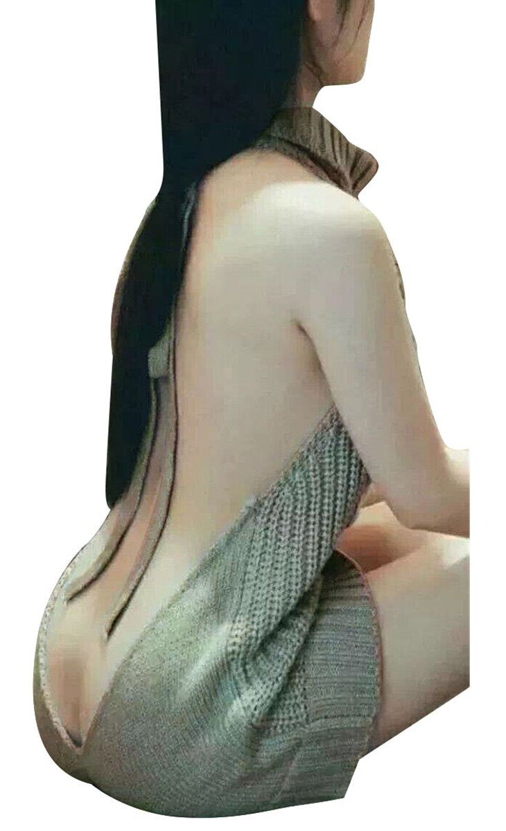 Pxmoda Women's Sleeveless Open Back Sweater Anime Cosplay Sweater (one Size, Grey)