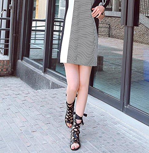 Los Sandalias Verano Zapatos de Versión Plana Cinta De Femeninas Ocio Zapatos Femenina De Planas Romanos De Con Black Nuevas Pez mujer Zapatos Coreana Boca EqvWwI