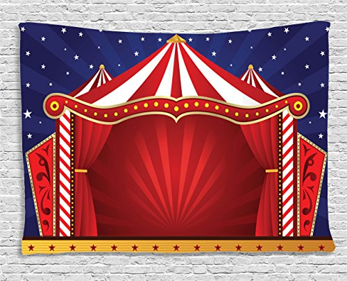 Circus Decor Tapestry Wall Hanging by Ambesonne, Canvas Tent Circus Stage Performing Theater Jokes Clown Cheerful Night Theme, Bedroom Living Room Dorm Decor, 60 W X 40 L Inches - Circus Art Printed Canvas