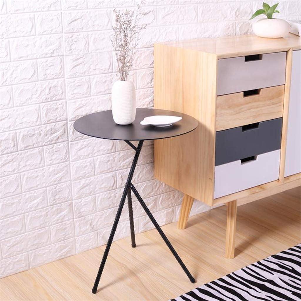 Table d\'appoint en fer forgé moderne petit coin salon canapé table basse mini table ronde, table basse / 3 couleurs (Color : Noir) Noir