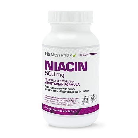 Niacina (Vitamina B3) 500mg de HSN Essentials - Fórmula de liberación inmediata de Nicotinamida