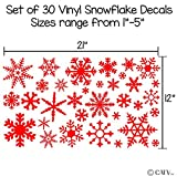 Small Snowflakes set of 30 wall saying vinyl lettering decal home decor art quote sticker (Red)