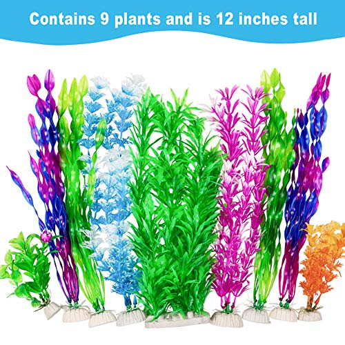 CousDUoBe 9 Pack Large Aquarium Plants Artificial Aquatic Plants, simulate Plants and Aquarium Landscape vividly (12inch)