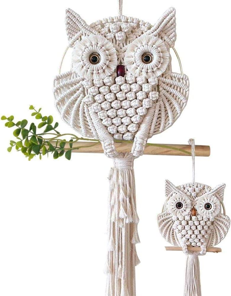 2 Pcs Owl Macrame Wall Hanging Tapestry Art Decor Large and Small Handmade Owl Decor for Office Bedroom Apartment Living Room Nursery Gallery