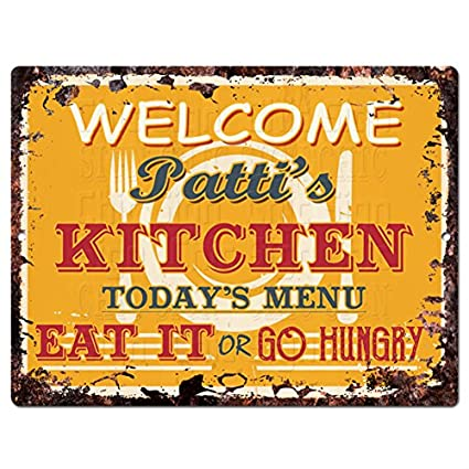 Amazon Com Welcome Patti S Kitchen Chic Tin Sign Vintage