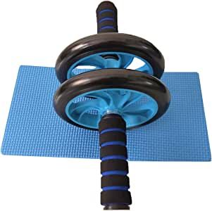 Abdominal exercise roller Dual wheel with foam handles-Includes extra thick knee pad-Perfect Roller For Core & Ab Workouts