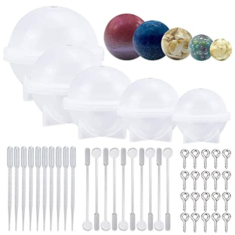 145 Pcs Mold Tools Kit for Crafts 5 Silicone Sphere Set Resin Casting Molds