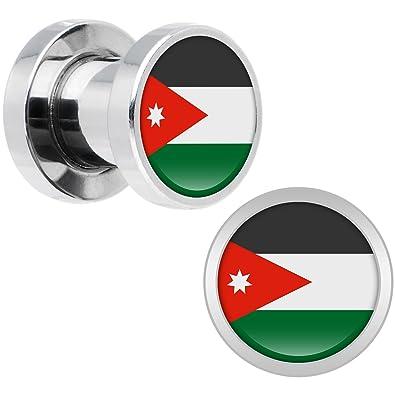 Cuerpo Caramelo Acero Inoxidable Bandera del Jordan Dilatador Ajuste Rosca Par 2 Calibrador: Amazon.es: Joyería