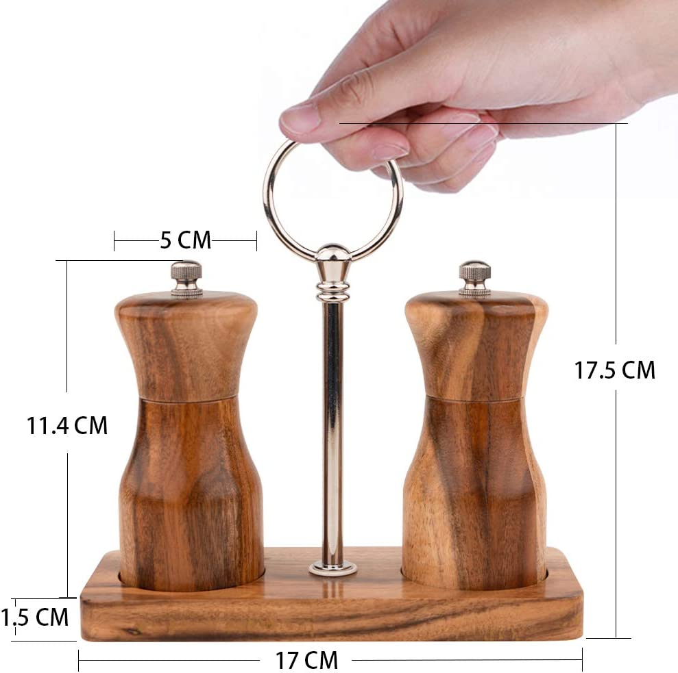 Adjustable Coarseness Mills Ceramic Rotor TOURSION Manual 4.5-Inch Wooden Salt and Pepper Shakers Salt and Pepper Grinder Set with Wooden Stand BPA Free for Cooking Kitchen Tools