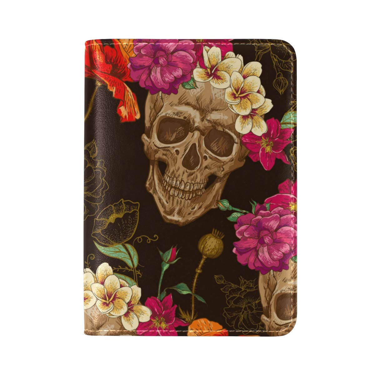 Seamless Sweat Skull And Flowers One Pocket Leather Passport Holder Cover Case Protector for Men Women Travel