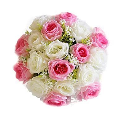 Fake Flower LJSGB Artificial Rose Holding Bouquet Artificial Flower