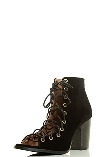 Womens Open Peep Toe Lace Up Strappy Corset Ankle Booties Chunky High Heel Boots