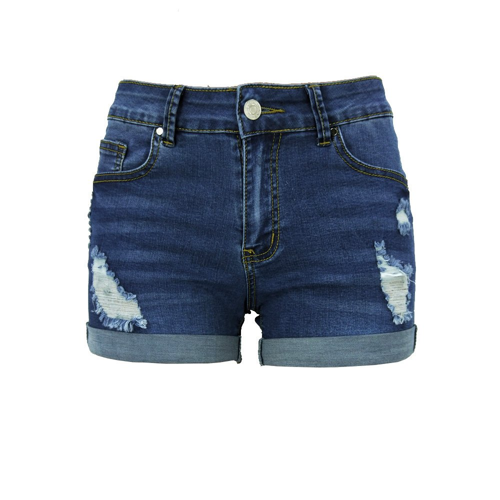 2d8b8e2a7c091 Middle waisted denim shorts with distressing on the front with fraying edges.  Traditional 5 pockets