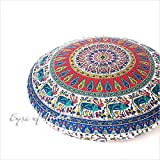 Eyes of India - 32'' Red Blue Indian Floor Pillow Cushion Cover Seating Round Colorful Decorative Mandala Sofa Meditation ThrowCover Only