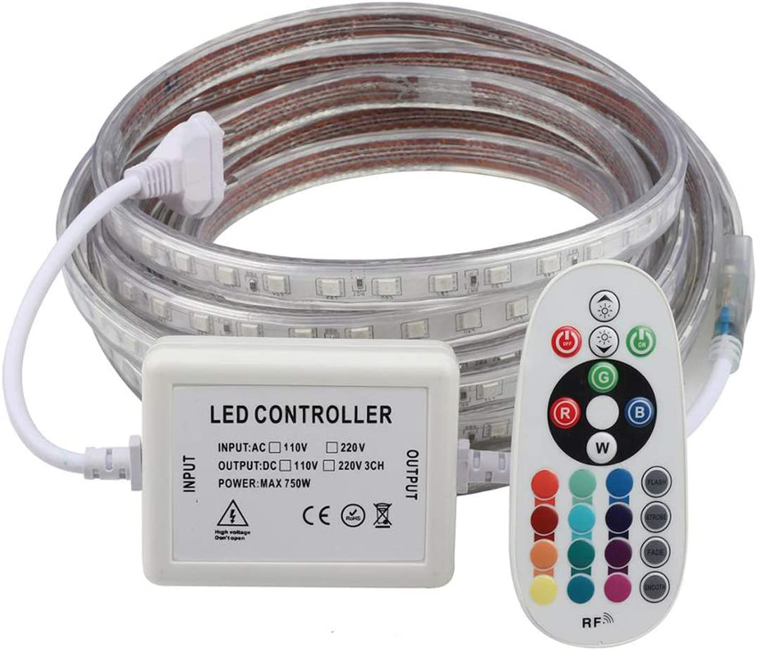 Remote Controller RGB LED Strip, 30FT 110V Connectable,Colorful LED Ribbon Waterproof IP65 Rope Flexible Strip Lights, Outdoor SMD5050 Cuttable Indoor Tape Lighting Home Decoration Garden Party