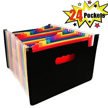 Carpeta archivadora expansible - A4 organizadores archivadores archivadores cajas Archivador Archivo Organizador para Hogar u Oficina Documentos Papel (24 ...