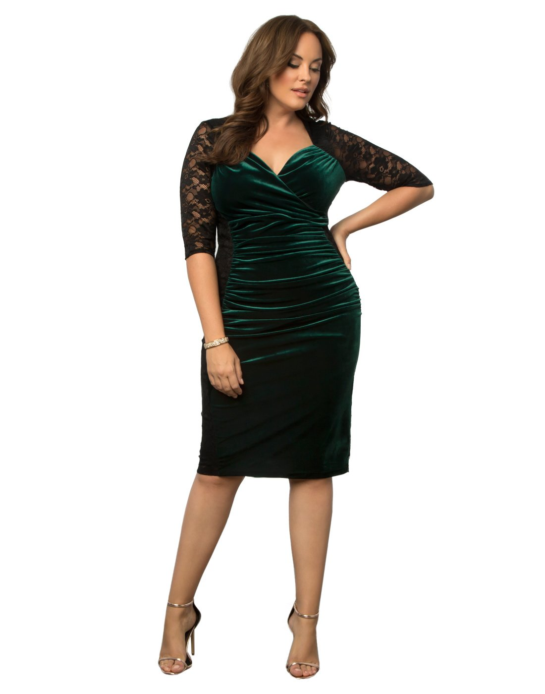 Kiyonna Women's Plus Size Hourglass Lace Dress 4X Garden Estate by Kiyonna Clothing