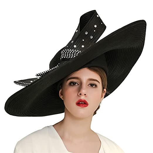 489ce9485b8 Kueeni Women Hats Church Hats for Wedding Mother of Bride Hats Silver  (Black)