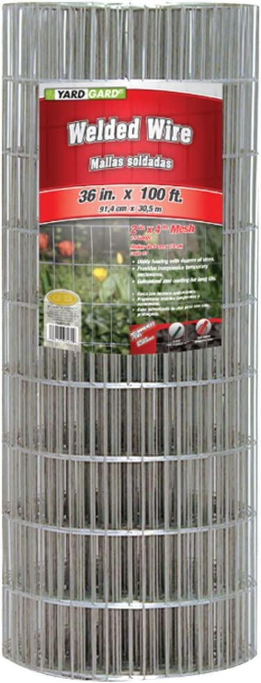 YARDGARD 308311B 2 Inch by 4 Inch Mesh, 36 Inch by 100 Foot 14 Gauge Galvanized Welded Wire Fence