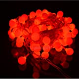 JnDee™ Battery Powered Red Berry Ball Shaped LED Fairy Lights 2M 20LED - ON/OFF/Flash Functions, Perfect for Christmas Wedding and parties